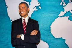 Barack Obama wax statue, Madame Tussaud`s Amsterdam royalty free stock image