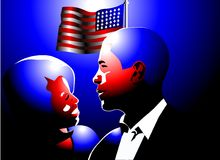 Barack and michelle obama. Abstract art of Michelle and barack obama smiling at each other underneath the american flag Royalty Free Stock Photo