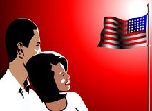 Barack and michelle obama illustration. Barack and michelle obama smile forward by the american flag Stock Photography