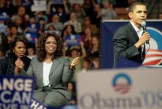 Barack, Michelle u. Oprah stockbilder