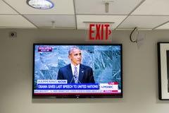 Barack Obama дает последнюю речь к Организации Объединенных Наций стоковая фотография rf