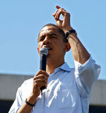 Barack Obama. In Portland, Oregon. Senator  made an appearance in front a large crowd of 75,000 on May 18th, 2008 stock photos