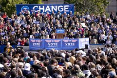 Barack Obama appearing at early vote Stock Image