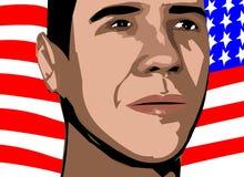 Barack obama artwork. Close up drawing of barack obama in front of the american flag vector illustration