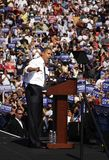 Barack Obama. ASHEVILLE, NC - OCT. 5: Presidential candidate Barack Obama speaking at a podium during a campaign rally at Asheville High School on October 5 Royalty Free Stock Image