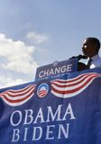 Barack Obama. ASHEVILLE, NC - OCT. 5: Presidential candidate Barack Obama speaking at a podium during a campaign rally at Asheville High School on October 5 Stock Photo