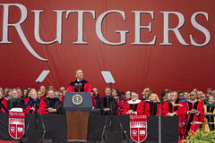 Barack Obama Attends 250th Anniversary Commencement Ceremony at Rutgers University. Barack Obama, 44th President of the United States, addresses the graduating Stock Photography