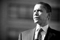 Barack Obama B&W. Barack Obama stands and listens to a crowd of thousands as he campaigns in Rodney Square, Wilmington, Delaware stock image