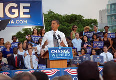 Barack Obama at Bayfront Park Royalty Free Stock Image