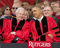 Barack Obama and Bill Moyers Attend the 250th Anniversary Commencement at Rutgers University Stock Photos
