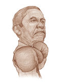 Barack Obama Boxer Caricature Sketch Stock Photo