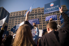 Barack Obama Campaign Supporters. Supporters wave and cheer as presidential hopeful, Barack Obama, speaks to a crowd of thousands in Rodney Square, Wilmington Royalty Free Stock Images