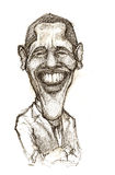 Barack Obama caricature. A pencil-drawn caricature of the President of USA - Barack Obama Stock Photos