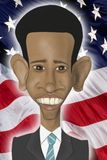 Barack Obama caricature. In front of the American flag vector illustration