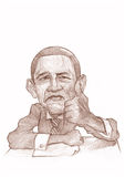 Barack Obama Caricature Sketch Stock Image