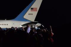 Barack Obama Cleveland Ohio Airforce en Royaltyfria Foton