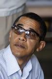 Barack Obama con i vetri protettivi Fotografie Stock Libere da Diritti