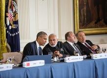 Barack Obama en Narendra Damodardas Modi Stock Afbeeldingen