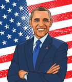 Barack Obama colored illustration in line art. Barack Hussein Obama is the 44th president of the United States, the first African American to hold the office stock illustration