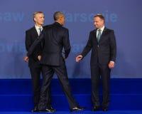 Barack Obama, Jens Stoltenberg and Andrzej Duda at NATO summit Royalty Free Stock Photos