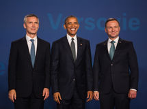 Barack Obama, Jens Stoltenberg and Andrzej Duda at NATO summit. WARSAW, POLAND - Jul 8, 2016: NATO summit. US President Barack Obama, NATO Secretary General Jens stock photos