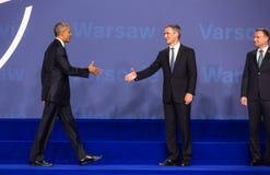 Barack Obama, Jens Stoltenberg and Andrzej Duda at NATO summit Stock Image