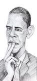 Barack Obama karikatyr skissar Stock Illustrationer