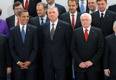 Barack Obama, Mirek Topolanek och Vaclav Klaus Arkivfoto