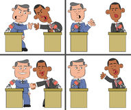 Barack Obama and Mitt Romney Cartoon 2 Royalty Free Stock Images