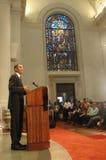 Barack Obama parla alla chiesa Fotografia Stock Libera da Diritti