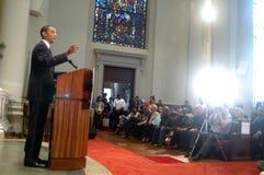 Barack Obama parla alla chiesa Fotografie Stock Libere da Diritti