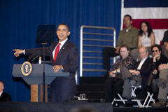 Barack Obama Pointing at a Town Hall. LOS ANGELES - MARCH 19: President Barack Obama speaking at a town hall meeting at the Miguel Contreras Learning Center on Stock Photography