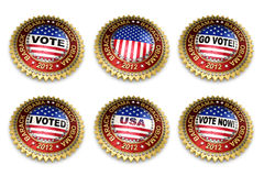 Barack Obama Presidential Election 2012 Buttons. Set of six Barack Obama 2012 US presidential election buttons over white background including clipping paths Stock Photography
