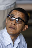 Barack Obama with protective glasses