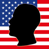 Barack Obama silhouette with US flag Royalty Free Stock Images