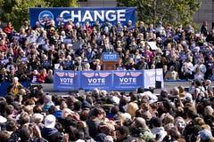 Barack Obama som visas på tidigt, röstar Fotografering för Bildbyråer