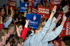 Barack Obama Supporters. Gather to hear Obama speak Royalty Free Stock Images