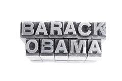 Barack Obama tecken, antik metallbokstavstyp Arkivbild