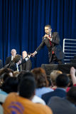 Barack Obama Town Hall Microphone Exchange. LOS ANGELES - MARCH 19: President Barack Obama speaking at a town hall meeting at the Miguel Contreras Learning Royalty Free Stock Images
