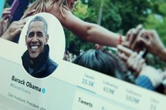 Barack Obama twitter. Twitter profile of former President of United States of America Barack Obama on laptop screen stock photography