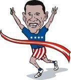 Barack Obama winning. Illustration of a Barack Obama isolated on white stock illustration