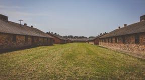 Baracker i den Auschwitz - Birkenau koncentrationsläger, Polen arkivbild