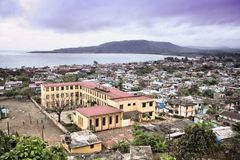 Baracoa. Cuba - aerial view of the town and the Caribbean Sea Stock Photos