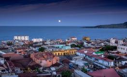 Baracoa Kuba på natten Arkivfoton