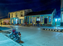 Baracoa street at night Cuba royalty free stock images