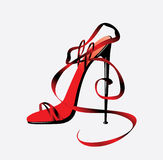 The barafoot person on a high heel Royalty Free Stock Photography