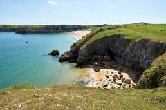 Barafundlestrand, Baai dichtbij Stackpole, Pembrokeshire, Wales, U K Stock Afbeeldingen