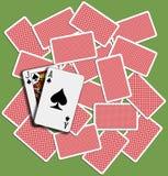 Barajadura de la tarjeta del juego del fondo de la veintiuna Foto de archivo libre de regalías