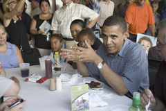 Barak Obama campaigning for President. U.S. Senator Barak Obama campaigning for President while eating dinner at Iowa State Fair in Des Moines Iowa, August 16 Stock Photography