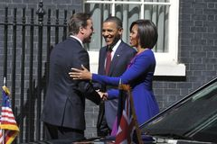 BARAK OBAMA, David Cameron, Michelle Obama Royaltyfri Bild